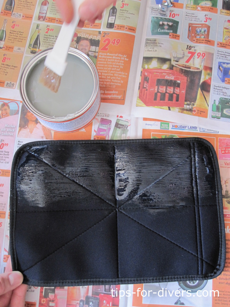 Apply adhesive to the suit bags